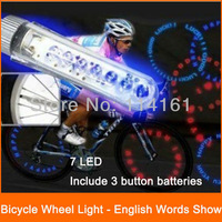wheel light tire wheel valve bike light 7 LED cycling bicycle LED bike lamp English words for riding warning at nigh