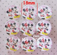 WB0108 Printed wooden buttons 18mm round buttons 100pcs Micky children garment buttons