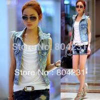 women's jeans vest 2014 new fashion lady waistcoat sleeveless jackets