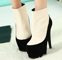 Sep-2013 Korean Autumn style woman platform short boots/high heels/pumps female/ladies color matching ankle naked boots freeship