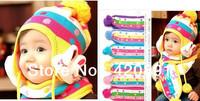 Free Shipping 2013 Korean Winter baby cap models cartoon rabbit children baby wool the rainbow hat + rainbow scarf Set