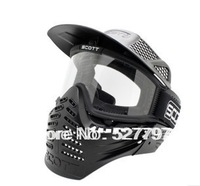 Safty Airsoft Paintball Tactical Full Face Mask With Goggle Black color Free Shipping