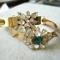 Two styles!!! Vintage hollywood punk shine gem rivet chain bracelet female rhinestone Free Shipping for women