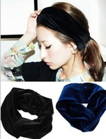 2013 new wholesale fashion winter peluche velvet fabric elastic headbands hair accessories hairbands6pcs/lot