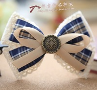 princess sweet lolita Cutout cotton lace bow plaid bow hair accessory hair accessory lace decoration a183 cotton-padded