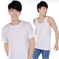 free shipping ,100% cotton white quinquagenarian vesseled loose t-shirt vest t-shirt T-shirt