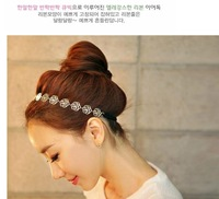 2014 Lovely Chain Elastic Hollow Out Rose Flower Stretch HairBands Wholesale (Silver) T14