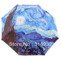 2013 New Oil painting Starry starry night paint by van gogh3 folding elargol sun protection manual umbrella
