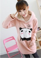 Free Shipping, 2013 New Women's Cute Panda Hoodie Coat,Velvet Thickening Fleece Sweatshirt,Long winter jacket,Leisure suit.