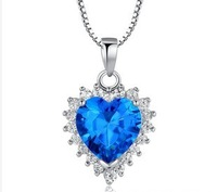 Free Shipping  Fashion Women Design 925  Sterling Silver With Big  Blue CZ Heart Pendant SPP02