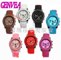 Free shipping - 1pcs-geneva silicone new fashion lady watch factory wholesale watches