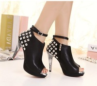 Free shipping Autumn fashion sexy women's shoes rivet boidae high-heeled platform open toe boots ankle-length boots