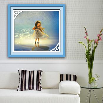 Wholesale Thread DMC Color Match 1 Pcs DIY  Wall Hanging 3D Angel Children Dream Violin's little Girl 52*48CM Cross Stitch Kit