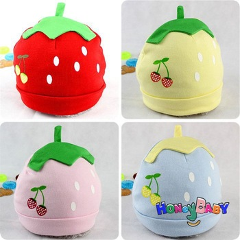 2013 New Summer Autumn Super Cute Baby Strawberry Cherry Children Cotton Cap Candy Color wholesale Children's Hat Free Shipping