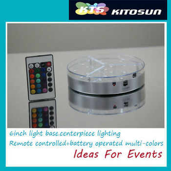 2pcs AA battery operated Remote controlled RGB LED CENTREPIECE BASE LIGHT