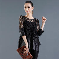 2013 spring genuine leather lace patchwork women's slim lace cutout genuine leather clothing