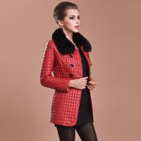 Fashion 2013 genuine leather wadded jacket female big fox fur sheepskin cotton slim leather clothing female