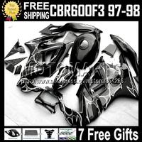 7gifts+Tank 100%  For HONDA CBR600F3 97-98 CBR 600F3 Black CBR600 F3 Silver flames 97 98 Q691730 CBR 600 F3 1997 1998 Fairing