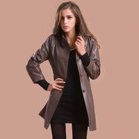 2013 leather clothing female autumn genuine leather clothing medium-long single sheepskin women's slim trench