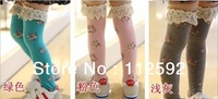 free shipping! 10pairs/lot baby girls' stocking pure cotton long socks flower leggings laciness pantyhose tights girls' pants