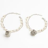 Pearl antique silver double layer bracelet l1106b