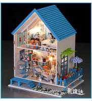Diy house Aegean romantic wooden house toys assembled mini model