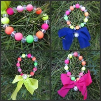 Fashion Handmade  Neon Beaded Beads with ribbon bowknot Bracelet ,free shipping
