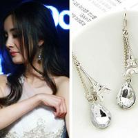 Three-dimensional silver eiffel tower crystal tassel earrings e7269b