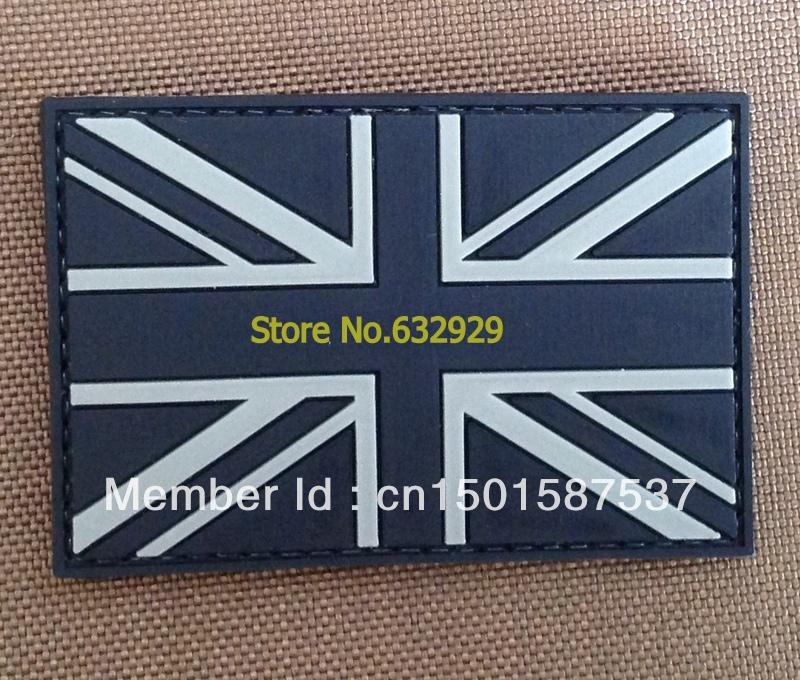 UK /Union Jack Black Color Velcro Military Patches/ Badge Velcro backing(China (Mainland))