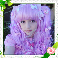 Imitation human made Cosplay wig lolita wig piece set lavender