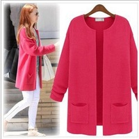 0950 2013 all-match candy color pocket medium-long cardigan sweater outerwear