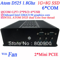 pc diy with 6 COM port Intel Dual core D525 four thread 1.8Ghz Intel NM10 GMA3150 graphics core 1G RAM 8G SSD Windows or linux