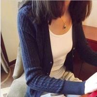 2014 autumn vintage twist sweater outerwear all-match women's cardigan sweater twisted cardigan