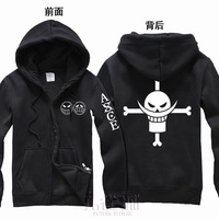 New One Piece Anime hoodie cosplay Portgas.D. Ace fleece cardigan with a hood sweatshirt coat jackets for men women