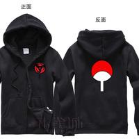 New Anime Naruto Uchiha Sasuke cosplay costume Kaleidoscope written round eye design fleece hoodie coat jacket