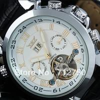 Free Shipping!2013 Fashion Tourbillon Skeleton Stainless Steel Multifunction Men Mechanical Hand Wind Wrist Watch Relogio Luxury
