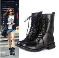 Free shipping 2013 new  womens ankle boots designer black martin shoes fashion brand genuine leather women motorcycle boots