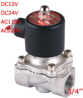 """Free Shipping 3/4"""" Electric Solenoid Valve VITON STAINLESS 2S200-20-V Water Solenoid Valve DC24V,AC110V and AC220V"""