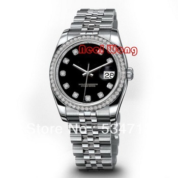 Hot Selling Black Face Diamond Watch Luxury Brand Women Mechanical Full Steel Bracelet Watch Lady Dive Watch (more items ask us)
