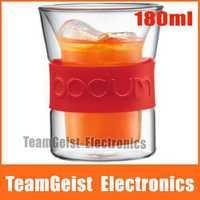 2pcs/pair Brand NEW 180ml Bodum Double layer Insulation Presso Glass coffee cup mug wine Glass cup & Original BOX Free shipping