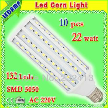 degree 360 cold white smd 5050 led e27 corn bulb 22w with 132 leds ac 220v led lamp lights bulb 10 pcs/lot free shipping