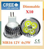 10X High Power Dimmable MR16  12W 15W Spotlight Lamp 4 CREE LED 12V Light Bulb Downlight