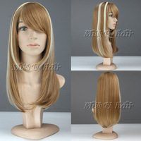 Miss u hair Cheap 55cm Long wavy women fashion wig Synthetic wigs Golden Brown and beige free cap free shipping