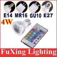 4W E27 E14 MR16 GU10 GU5.3 RGB LED Bulb 16 Color Change Lamp spotlight 110-245v for Home Party decoration with IR Remote