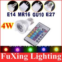 Retail 4W E27 E14 MR16 GU10 GU5.3 LED Bulb Lamp light led spot lighting+ 24 Key 16 Color Remote Control