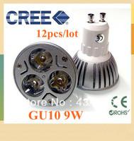 12pcs/LOT GU10 9W 12W 15W  AC85-265V Dimmable High power CREE LED Spot Light Bulb Spotlight downlight lamp