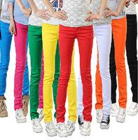 new 2014 fashion spring autumn lady women candy color high waist elastic trousers cotton pencil pants leggings wholesale