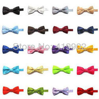 New Solid Plain Formal Wedding Baby Boys Grils Tuxedo BOWTIES SUIT BOW TIE 30 Colors Available
