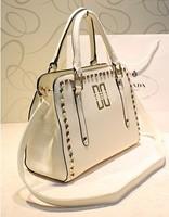 Korean idoido women's handbag black rivet quality one shoulder bag handbag