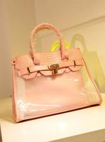 2013 women's handbag messenger bag sugar jelly color lock lockbutton transparent picture package